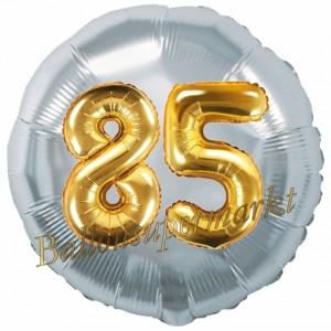 Runder Luftballon Jumbo Zahl 85, silber-gold mit 3D-Effekt zum 85. Geburtstag