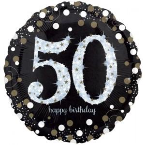 Holografischer Folienballon, Jumbo Sparkling Birthday 50 zum 50. Geburtstag