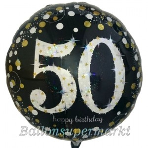Luftballon aus Folie mit Helium, Sparkling Birthday 50, zum 50. Geburtstag
