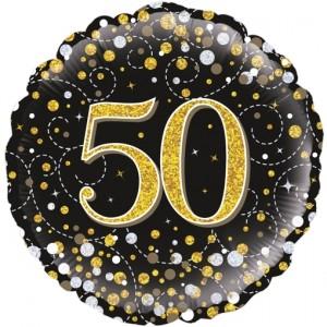 Luftballon aus Folie mit Helium, Sparkling Fizz Gold 50, zum 50. Geburtstag, Jubiläum