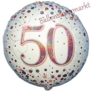 Luftballon aus Folie mit Helium, Sparkling Fizz Roségold 50, zum 50. Geburtstag, Jubiläum
