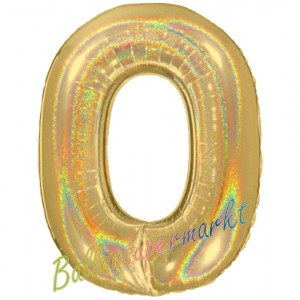 Zahlendekoration Zahl 0, holografisch, Gold, Folienballon Dekozahl ohne Helium