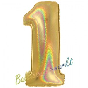 Zahlendekoration Zahl 1, holografisch, Gold, Folienballon Dekozahl ohne Helium