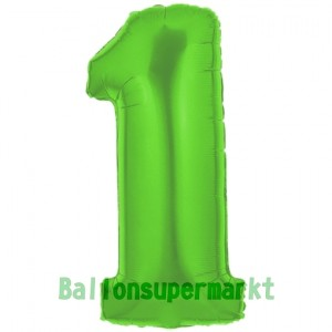 Zahl 1, Grün, Luftballon aus Folie, 100 cm