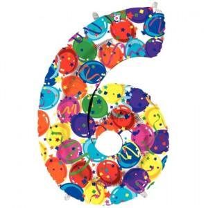 Zahlendekoration Zahl 6, bunt, Großer Luftballon aus Folie, Blau, 1 Meter hoch, Folienballon Dekozahl