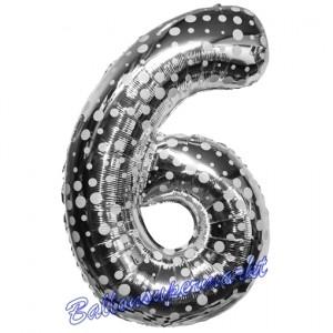 Zahl 6, Silber mit Punkten, Luftballon aus Folie, 86 cm
