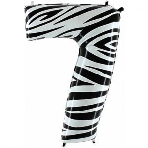 Zahlendekoration Zahl 7, Sieben, Großer Luftballon aus Folie, Zebra-Optik, 1 Meter hoch, Folienballon Dekozahl