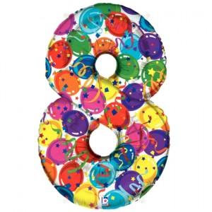Zahlendekoration Zahl 8, bunt, Großer Luftballon aus Folie, Blau, 1 Meter hoch, Folienballon Dekozahl