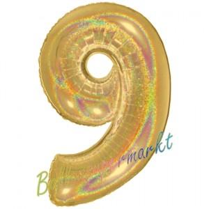 Zahlendekoration Zahl 9, holografisch, Gold, Folienballon Dekozahl ohne Helium