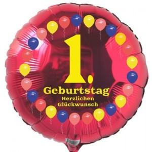 Luftballon aus Folie zum 1. Geburtstag, Herzlichen Glückwunsch Ballons 1, ohne Ballongas