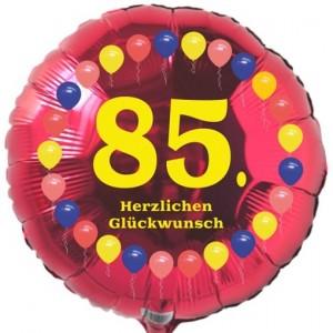 Luftballon aus Folie zum 85. Geburtstag, Herzlichen Glückwunsch Ballons 85, rot, ohne Ballongas