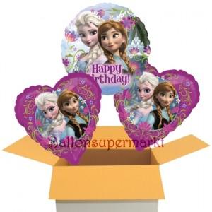 Eiskönigin Happy Birthday, 3 Stück Frozen Luftballons aus Folie zum Geburtstag, inklusive Helium