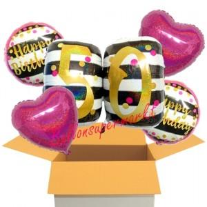5 Luftballons zum 50. Geburtstag, Pink and Gold Milestone Birthday
