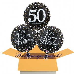 3 Luftballons aus Folie zum 50. Geburtstag, Sparkling Celebration