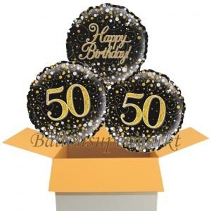 3 Luftballons aus Folie zum 50. Geburtstag, Sparkling Fizz Birthday Gold 50