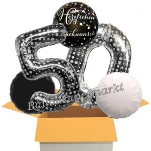 5 Luftballons zum 50. Geburtstag, Sparkling Celebration Herzlichen Glückwunsch Silver Dots 50