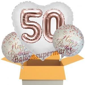 3 Luftballons zum 50. Geburtstag, Jumbo 3D Sparkling Fizz Birthday Rosegold 50
