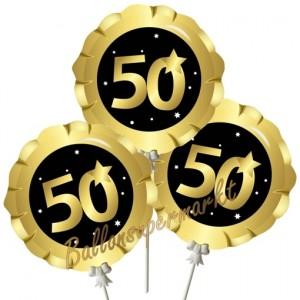 Mini-Folienballons Zahl 50 Schwarz-Gold, selbstaufblasend, 3 Stück