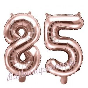 Zahlen-Luftballons aus Folie, Zahl 85 zum 85.Geburtstag und Jubiläum, Rosegold, 35 cm