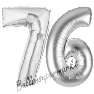 Zahl 76 Silber, Luftballons aus Folie zum 76. Geburtstag, 100 cm, inklusive Helium