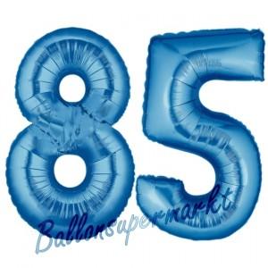 Zahl 85 Blau, Luftballons aus Folie zum 85. Geburtstag, 100 cm, inklusive Helium