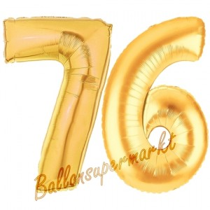 Zahl 76 Gold, Luftballons aus Folie zum 76. Geburtstag, 100 cm, inklusive Helium