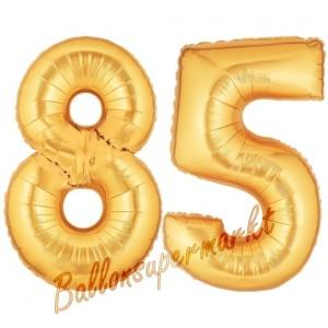 Zahl 85, Gold, Luftballons aus Folie zum 85. Geburtstag, 100 cm, inklusive Helium