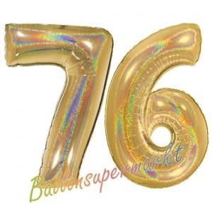 Zahl 76, holografisch, Gold, Luftballons aus Folie zum 76. Geburtstag, 100 cm, inklusive Helium