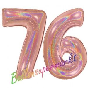 Zahl 76, holografisch, Rosegold, Luftballons aus Folie zum 76. Geburtstag, 100 cm, inklusive Helium