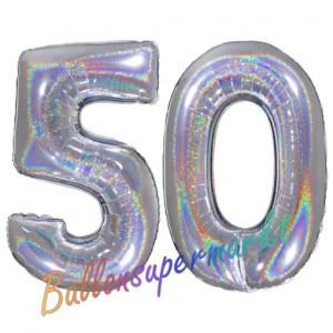 Zahl 50, holografisch, Silber, Luftballons aus Folie zum 50. Geburtstag, 100 cm, inklusive Helium