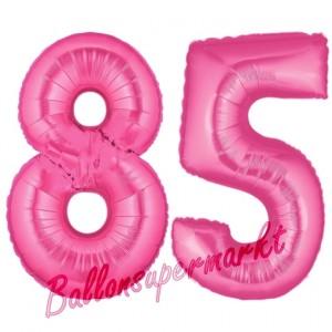 Zahl 85, Pink, Luftballons aus Folie zum 85. Geburtstag, 100 cm, inklusive Helium
