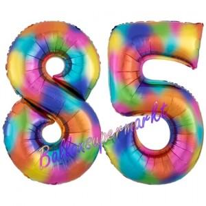 Zahl 85 Regenbogen, Zahlen Luftballons aus Folie zum 85. Geburtstag, inklusive Helium