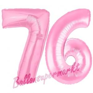 Zahl 76 Rosa Luftballons aus Folie zum 76. Geburtstag, 100 cm, inklusive Helium