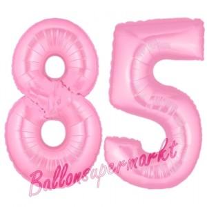 Zahl 85 Rosa, Luftballons aus Folie zum 85. Geburtstag, 100 cm, inklusive Helium