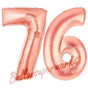Zahl 76 Rosegold Luftballons aus Folie zum 76. Geburtstag, 100 cm, inklusive Helium