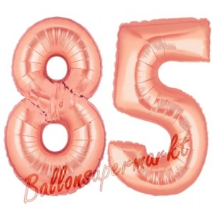 Zahl 85 Rosegold Luftballons aus Folie zum 85. Geburtstag, 100 cm, inklusive Helium