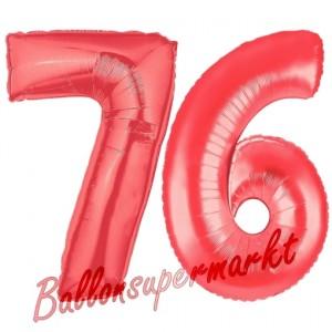 Zahl 76 Rot, Luftballons aus Folie zum 76. Geburtstag, 100 cm, inklusive Helium