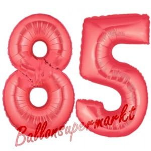 Zahl 85 Rot, Luftballons aus Folie zum 85. Geburtstag, 100 cm, inklusive Helium