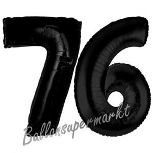 Zahl 76 Schwarz Luftballons aus Folie zum 76. Geburtstag, 100 cm, inklusive Helium