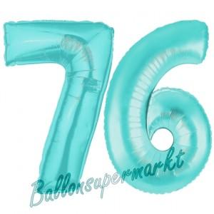 Zahl 76 Türkis, Luftballons aus Folie zum 76. Geburtstag, 100 cm, inklusive Helium