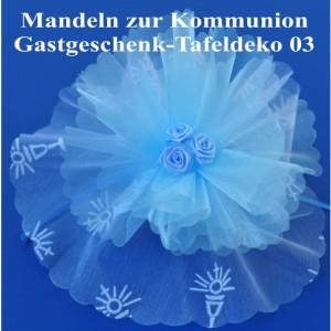 Gastgeschenk und Tafeldekoration zur Kommunion, Mandelsäckchen Tüll-Bouquet 03