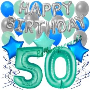 50. Geburtstag Dekorations-Set mit Ballons Happy Birthday Aquamarin, 34 Teile