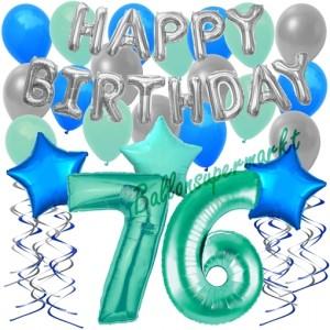 76. Geburtstag Dekorations-Set mit Ballons Happy Birthday Aquamarin, 34 Teile