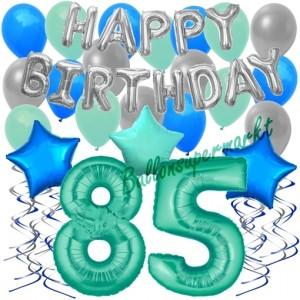 85. Geburtstag Dekorations-Set mit Ballons Happy Birthday Aquamarin, 34 Teile