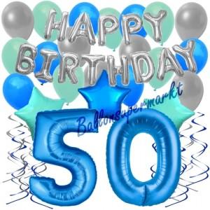 50. Geburtstag Dekorations-Set mit Ballons Happy Birthday Blue, 34 Teile