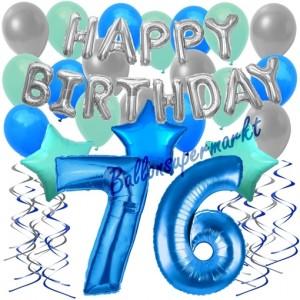 76. Geburtstag Dekorations-Set mit Ballons Happy Birthday Blue, 34 Teile