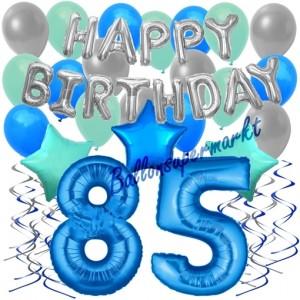 85. Geburtstag Dekorations-Set mit Ballons Happy Birthday Blue, 34 Teile