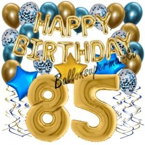 Dekorations-Set mit Ballons zum 85. Geburtstag, Happy Birthday Chrome Blue & Gold, 34 Teile