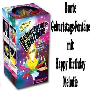 Bunte Geburtstags-Fontäne, Happy Birthday Melodie, kleines Feuerwerk zur Geburtstagsparty