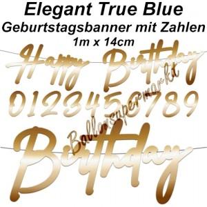 Geburtstagsbanner Elegant True Blue mit Zahlen